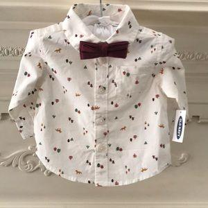 Baby boy dress shirt with bow tie